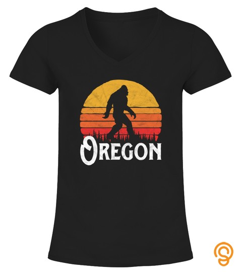 Retro Oregon Bigfoot Silhouette Sun Tshirt   Hoodie   Mug (Full Size And Color)