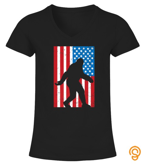Patriotic Bigfoot  American Flag Bigfoot Tshirt   Hoodie   Mug (Full Size And Color)