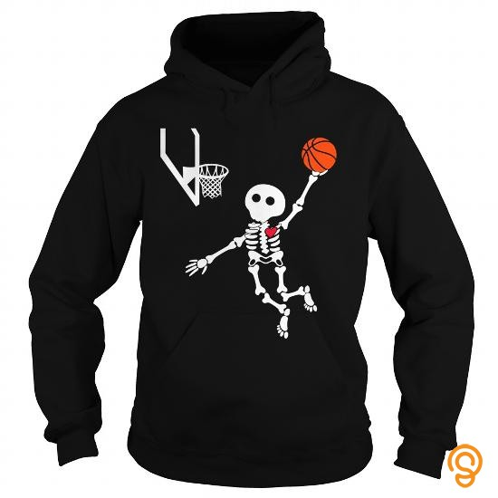 Sporty basketball skeleton halloween shirt Tee Shirts Saying Ideas