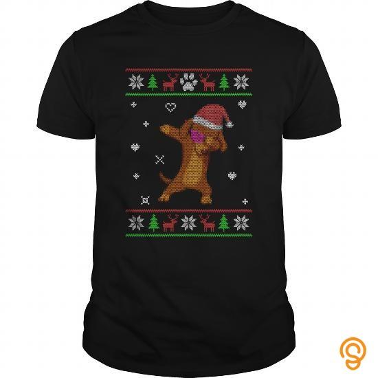 Styling Ugly Sweater Christmas Dachshund Dabbing Dance T Shirts Sayings Women