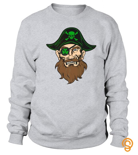 St. Patricks Day Cool Funny Pirate Clover Eyepatch T Shirt