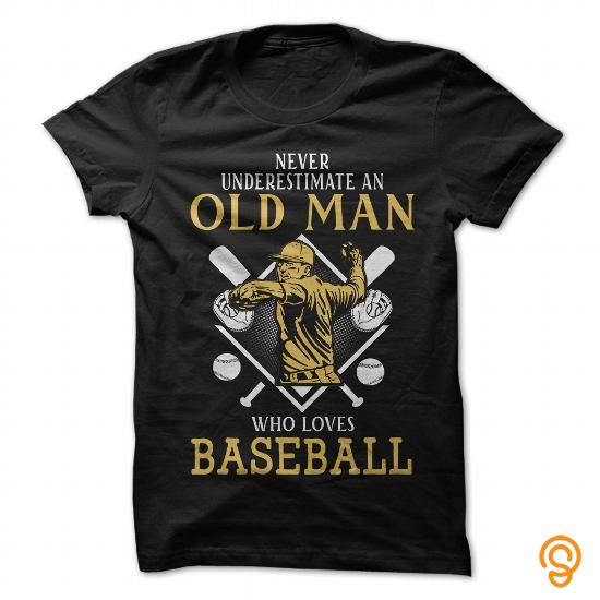 Decorative Old Man Loves Baseball T Shirts For Adults