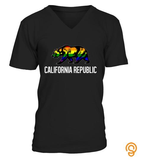 California Flag Gay Pride Bear Rainbow Cali Lgbtq Tshirt   Hoodie   Mug (Full Size And Color)