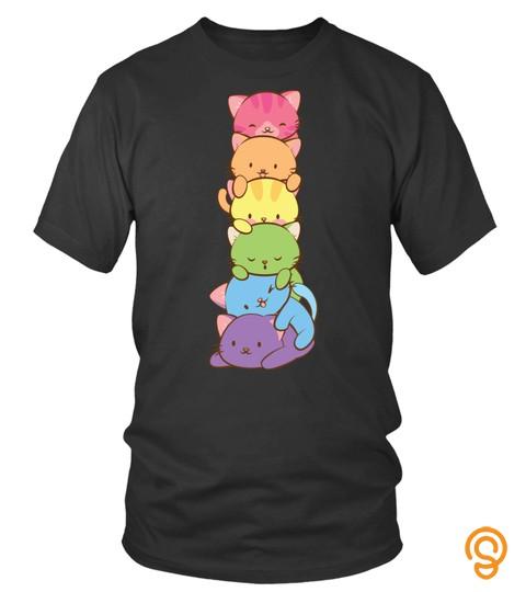 Cat Tshirt   Cute Lgbt Rainbow Gay Pride Flag Kawaii Cat Pile Anime Art Pullover Hoodie