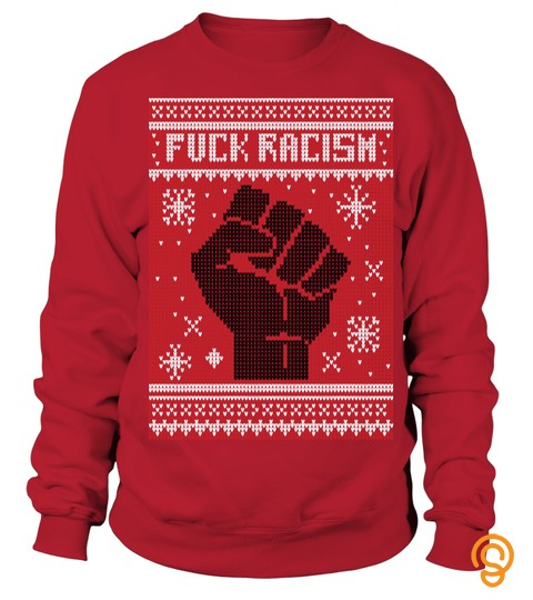 F*ck Racism Christmas Sweater   Red