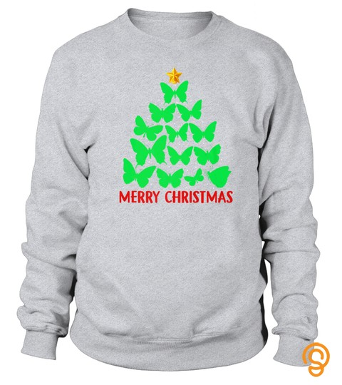 Merry Christmas Butterfly Tree (2) Tshirt   Hoodie   Mug (Full Size And Color)