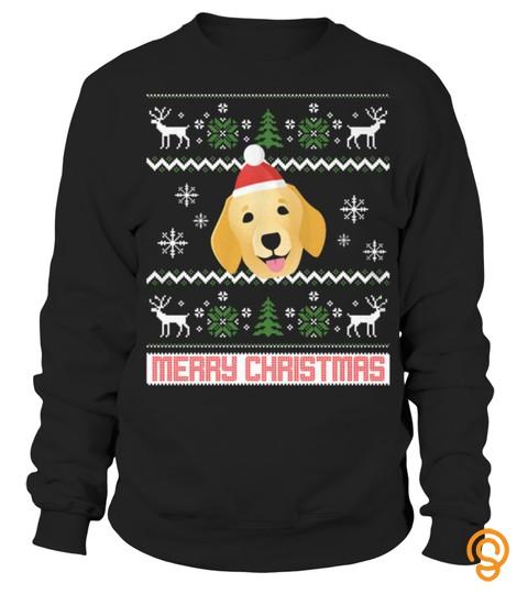 Golden Retriever Santa Snow Christmas T