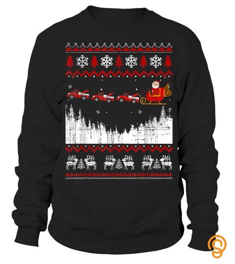 Christmas Santa Riding Tow Truck Sleigh Ugly Xmas Gift T Shirt