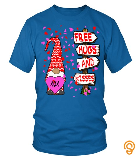 Cute Valentines Gnome Hearts Free Hugs And Kisses Pullover Hoodie