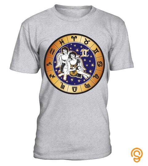 Twins Round Zodiac Sign   Gemini  T Shirt