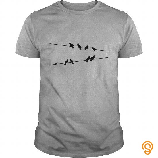 Avant Garde Birds on electric wires T Shirts Tee Shirts For Adults