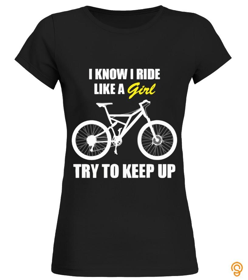 Drapey Ride Like A Girl   Cycling Shirt T Shirts Screen Printing