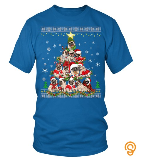 Cute Pug Dog Lovers Ugly Christmas Tree Gift Men Women T Shirt