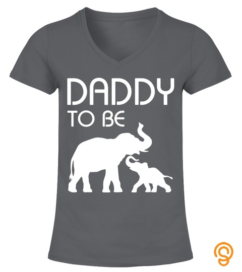 Mens Dad Daddy To Be Elephant And Baby Funny Father's Day Tshirt
