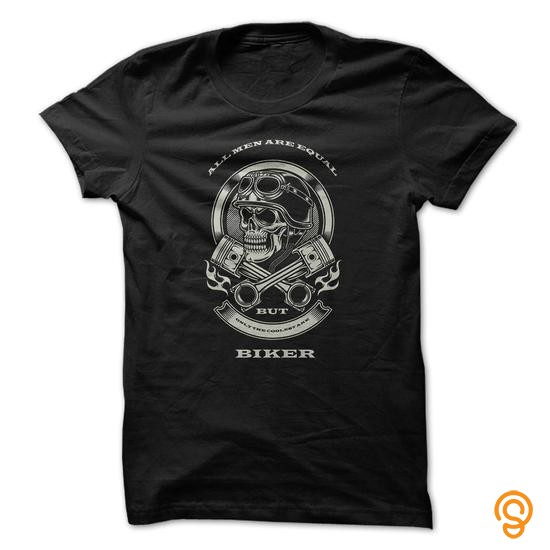Affordable All men are equal, only the coolest are BIKER! Tee Shirts For Adults