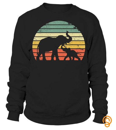 Vintage Elephant Shirt Retro Sunset Colors Silhouette T Shirt