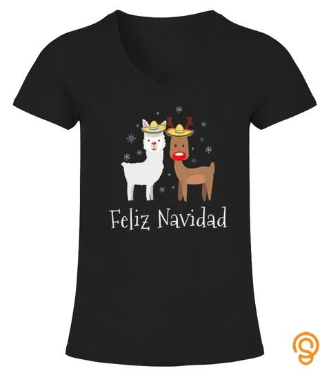 Feliz Navidad Christmas Llama Tshirt   Hoodie   Mug (Full Size And Color)