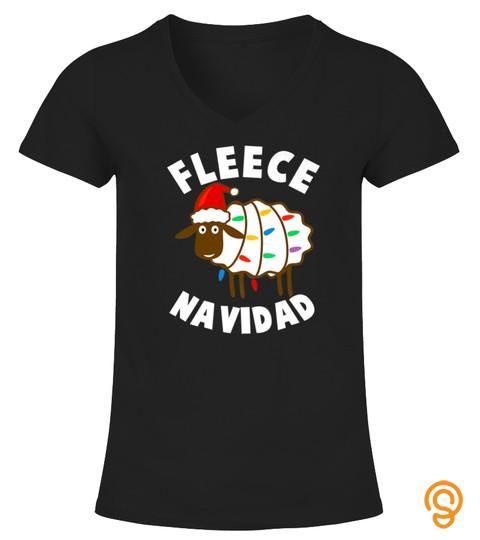 Fleece Feliz Navidad Funny Cute Sheep Christmas Tshirt   Hoodie   Mug (Full Size And Color)
