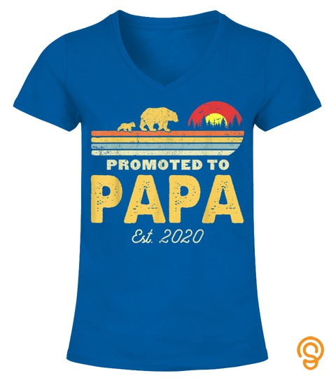 Promoted To Papa Est 2020 Gift First Time New Dad Vintage T Shirt