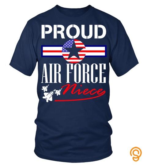 Pilot Proud Air Force Niece Shirt Us Heart Military Women