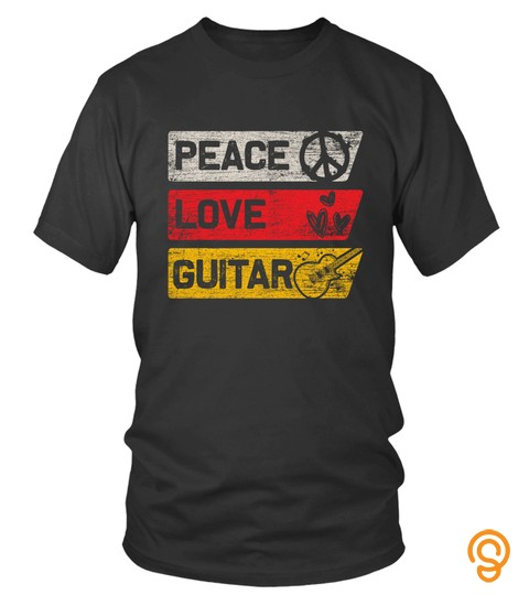 Guitar Sweatshirt   Peace Sign Love Heart Guitarist Music