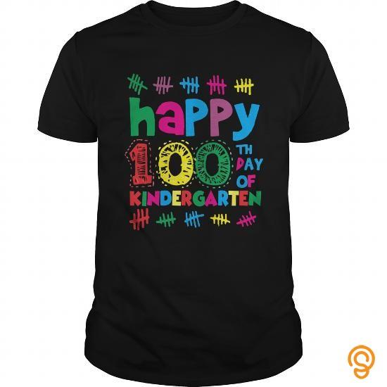 Fabulous Happy 100th Day Of Kindergarten School T Shirt Teacher Tee