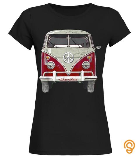 Vintage 1960s Hippie Red Micro Bus Van Surf Wagon Gift T-Shirt