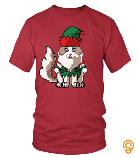 Merry Christmas Ragdoll Greetings Cat Mom Dad Gifts T Shirt