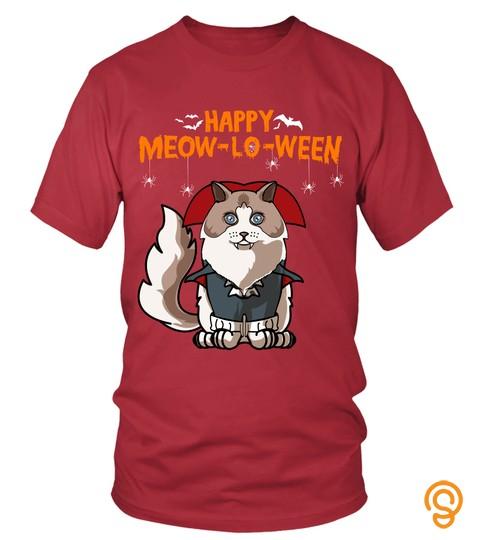Meow-loween Ragdoll Halloween Greetings Cat Mom T-Shirt