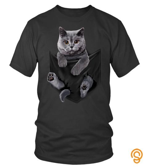 Cat T shirt - British Grey Cat in Pocket Long Sleeves Cats Tee Shirt Gifts