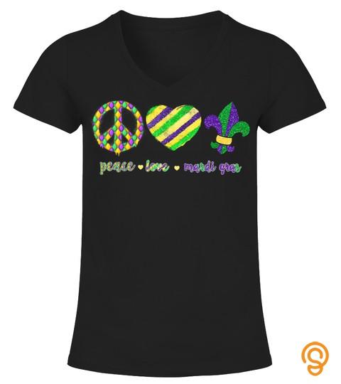 Peace Sign Heart Fleur De Lys Hippie Peace Love Mardi Gras T Shirt