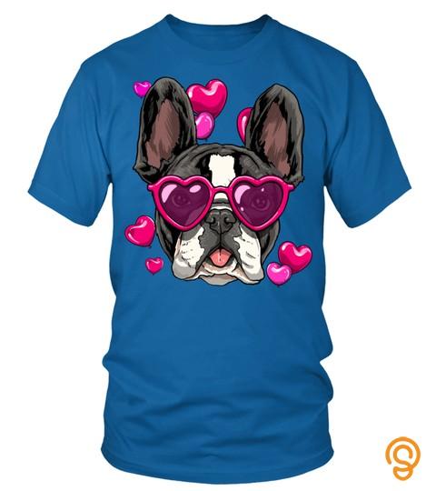 French Bulldog Valentines Day Shirt Heart Dog Lover Gift Long Sleeve T Shirt