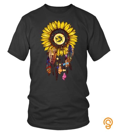 Hippie Sunflower Dreamcatcher Mermaid  Seashell Little Mermaid Gift Shirt For Women