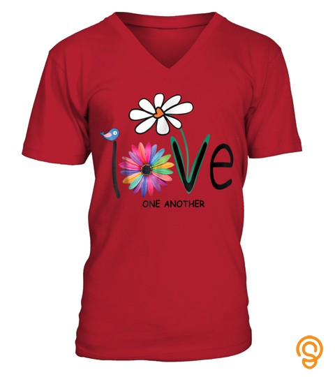 Love One Another Daisy Bird Hippie Flower Gift T Shirt