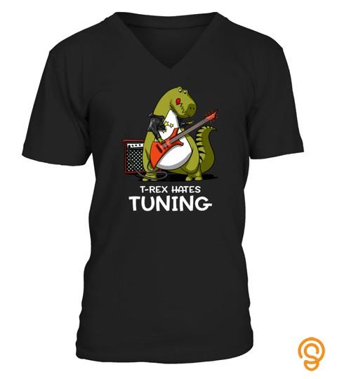 Trex Hates Tuning Funny Dinosaur Guitarist Tshirt   Hoodie   Mug (Full Size And Color)