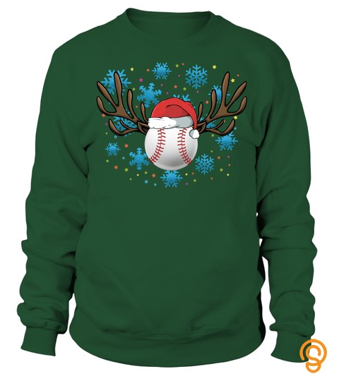 Softball Christmas Shirt Santa Hat & Reindeer Antlers Gift