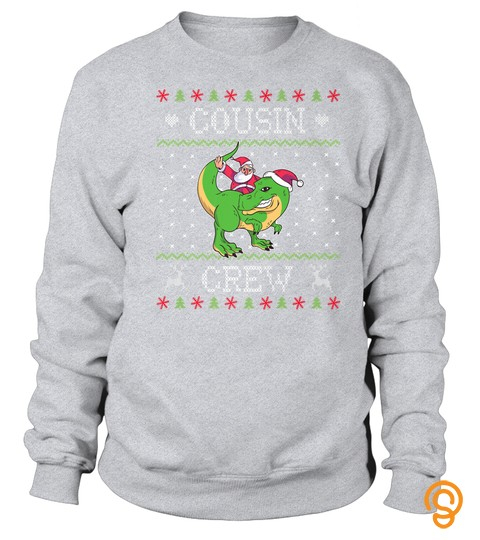 Cousin Crew Matching Christmas Trex Santa Cousins Tshirt   Hoodie   Mug (Full Size And Color)