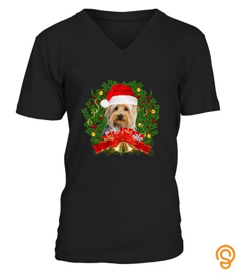 Cute Yorkie Christmas Reef Santa Hat Xmas T Shirt