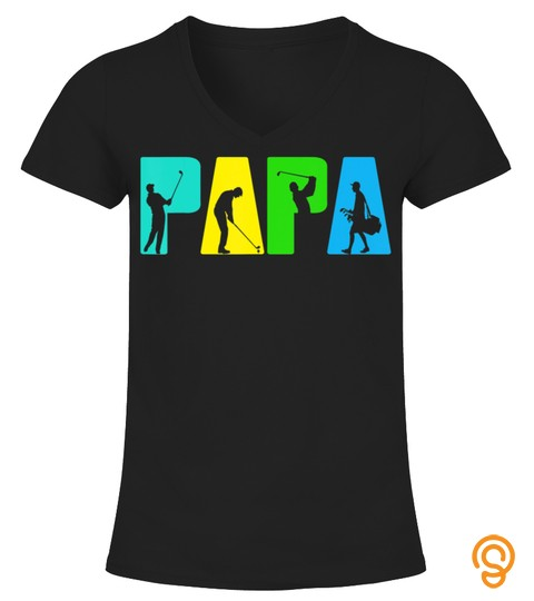 Retro Golfing Papa Golfer Shirt. Golf Gifts For Fathers Day T Shirt