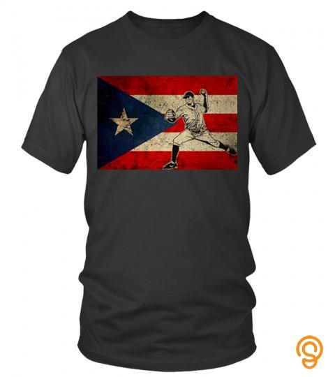 Puerto Rico Baseball Flag T Shirt