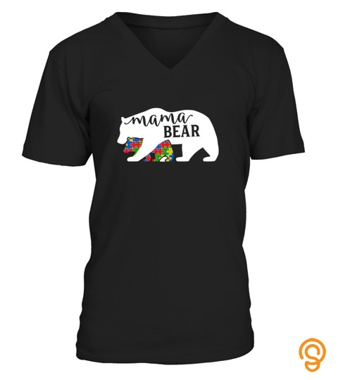 Mama Bear Autism Tshirt Autism Awareness Month Tshirt   Hoodie   Mug (Full Size And Color)