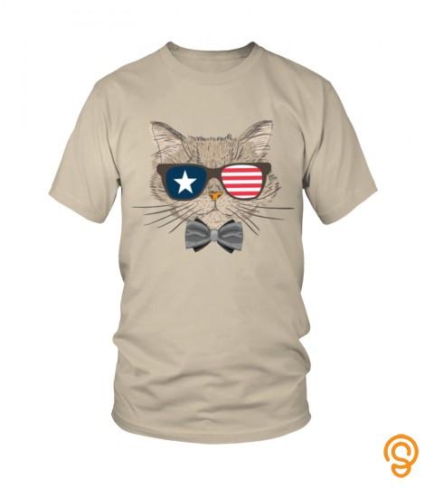 Funny Cat Sunglass Flag Shirt