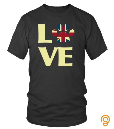 Patriotic Uk Flag Dog Love Usa