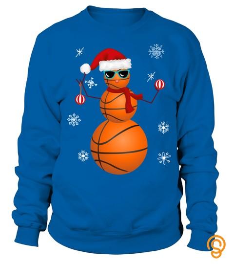 Christmas Basketball Ball Snowman Santa Snow Snowflakes Gift Long Sleeve T Shirt