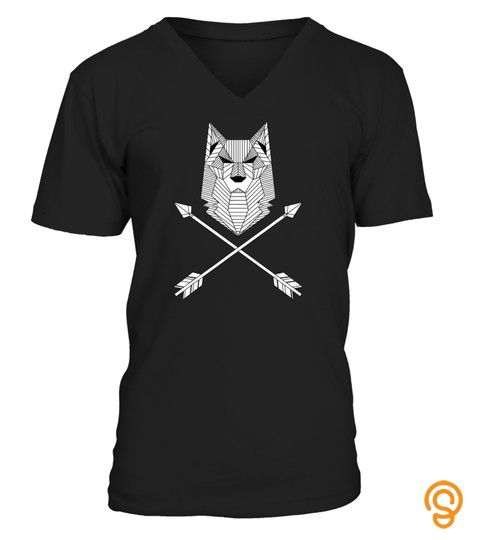 Geometric Shapes Wolf Head Arrows T Shirt