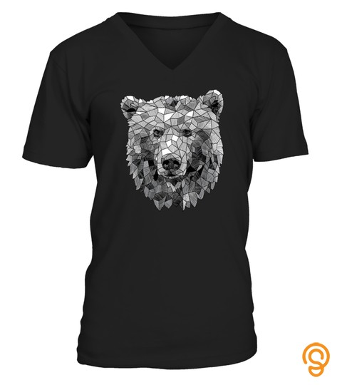 Grizzly Bear Geometric Animal Sketch Soft Tshirt   Hoodie   Mug (Full Size And Color)