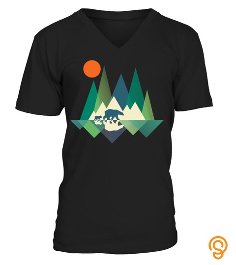Walking Bear With Cub Geometry Mountains Design Tshirt   Hoodie   Mug (Full Size And Color)