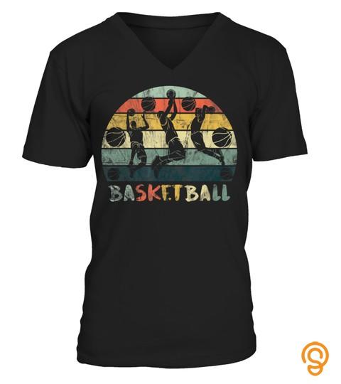 Vintage Retro Basketball Dunk Shirt Sunset Colorful T Shirt T Shirt