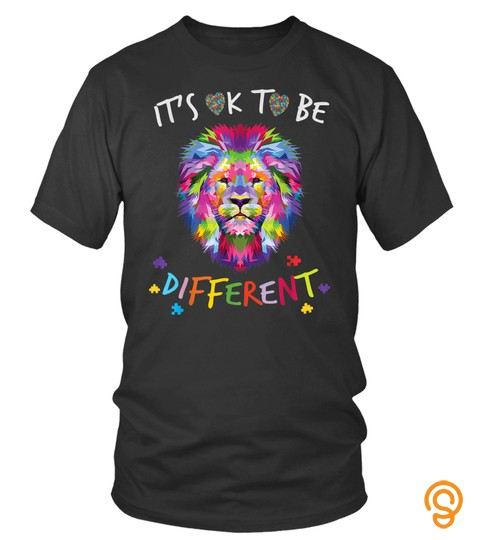 Autism Awareness  It's Ok To Be Different Colorful Lion