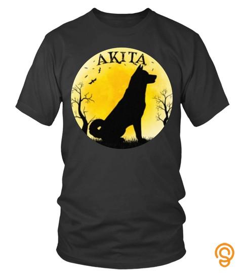 Moon Yellow Akita Nature Birds Tree Night Lover Akita Japan Animal Dog Pet Best Selling T Shirt
